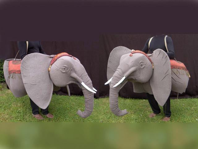 Construction de l'éléphant en volume pour 3 comédiens