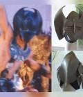 Masques réalisés en mousse dense et carton puis peints