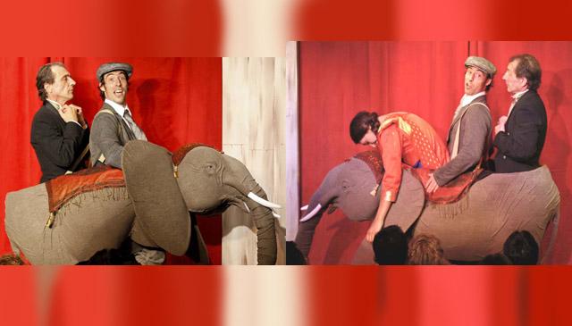 Construction en volume d'un costume éléphant, en jeu de scène.