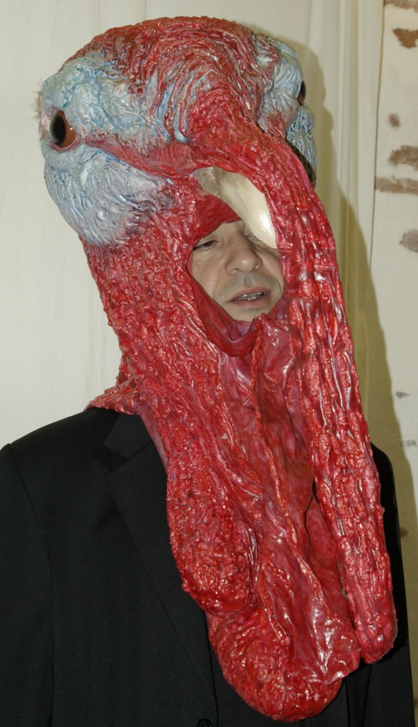 Masque de dindon en latex, mousse et plastazote.